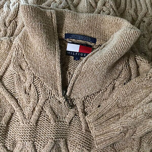 Mint Tommy Hilfiger Cable Knit Sweater Thick Heavy Material Zip ...
