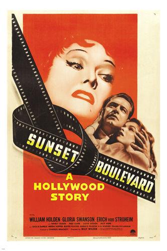 SUNSET BLVD Vintage Movie Poster WILLIAM HOLDEN Gloria Swanson 24X36 DRAMA