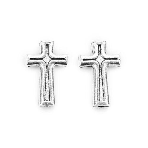 50Pcs Religious Catholic Crosses Enamel Medals Charms Pendants Cross 19mm