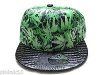 New Green Cannabis Leaf Weed Marijuana Snapback Hat Cap Mens Womens Unisex