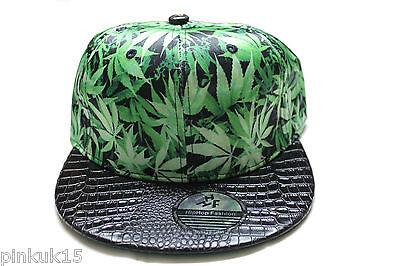 Nouveau vert cannabis leaf weed marijuana snapback hat cap homme femme unisexe