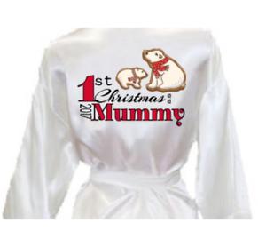 Ladies 1st first christmas xmas as Mummy 2017 print silk satin style kimono robe