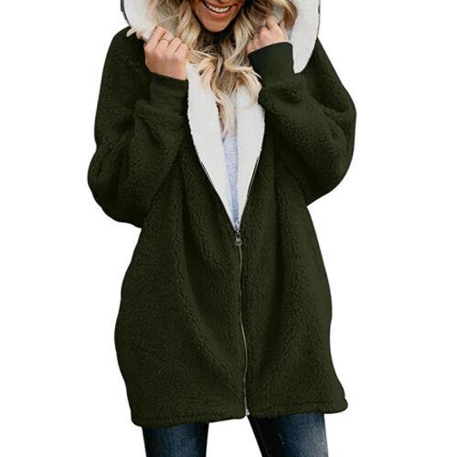 Womens Ladies Warm Fluffy Fleece Jacket Coat Zipper Hoodie Hooded Parka Outwear