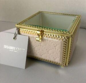 Rachel Ashwell Shabby Chic Glass Jewelry Keepsake Box Small Pink Tile Mosaic Ebay