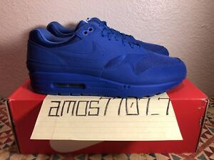 44165041c8 Nike Air Max 1 Premium Tonal Pack Royal Blue 875844 400 SZ 8.5 9.5 ...