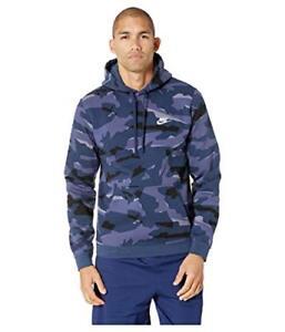 2783d4d22565 Nike Sportswear Mens Club Camo Pullover Hoodie L Blue Casual Gym New ...