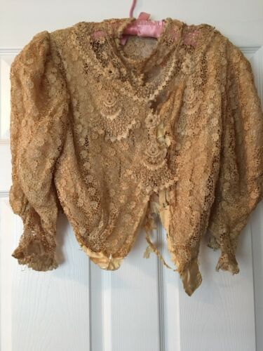 Antique Victorian Schiffli Chemical Lace Bodice Le