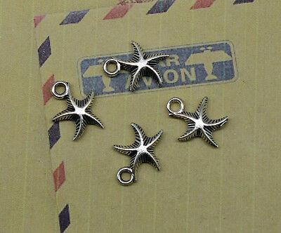 wholesale 30/100pcs Retro Style Tibet silver alloy Small starfish charm pendant