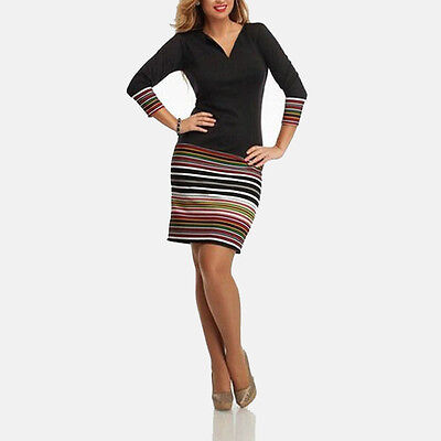 New Women Sexy Stripe Casual Party Evening Cocktail Short Mini Long sleeve Dress
