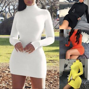 Women-Solid-Turtleneck-Bodycon-Dress-Fashion-Long-Sleeve-Sexy-Party-Mini-Dresses