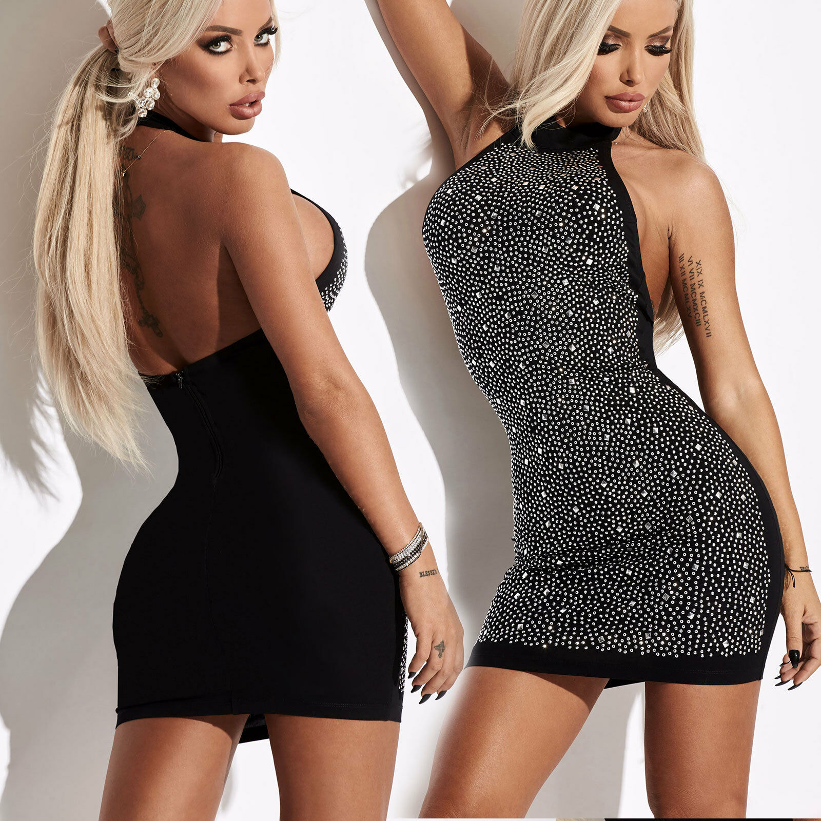 By Alina Damen Kleid Bodycon-Kleid Partykleid Longtop Minikleid Strass XS-M