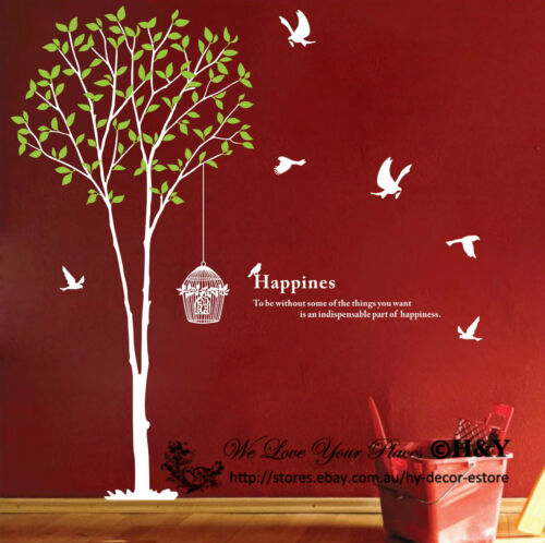 Giant Bird Tree Cage Wall Art Decal Removable Vinyl Stickers Quotes Mural Decor