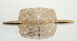 SALE-Filigree-Vintage-Hair-Clip-Pin-West-Germany-Light-Weight-Never-Worn-Gold-C