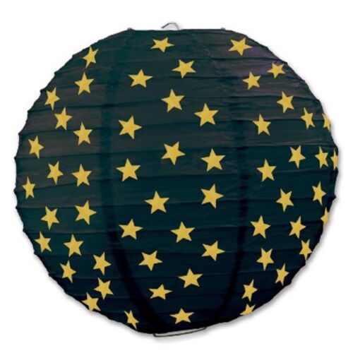 """3 Black Paper Lanterns with Gold Stars 9.5/"""" Dia Wedding Party Decorations"""