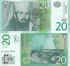 Serbia 20 Dinara 2013 P-55b 1st Prefix /'AA/' Banknotes UNC