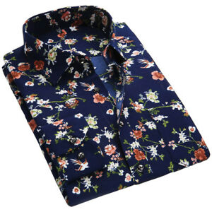 Details About Mens Xxl Xxxl Plus Size Floral Print Shirts Long Sleeve Casual Slim Dress Shirt