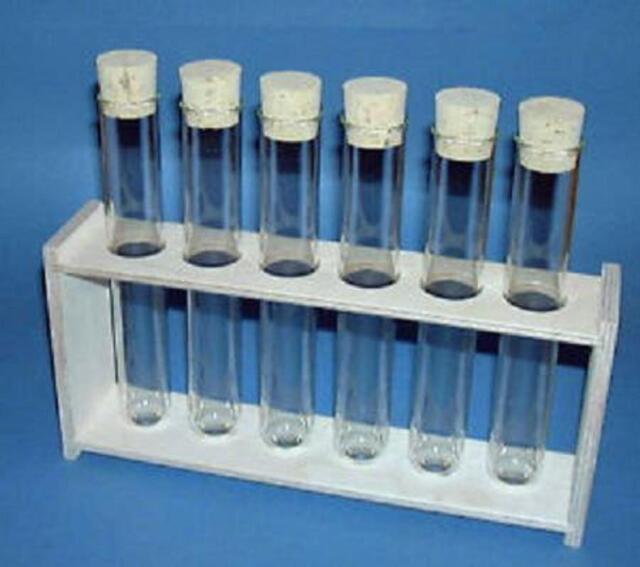 Reagenzglasständer mit 6 Gläsern +Korkstopfen