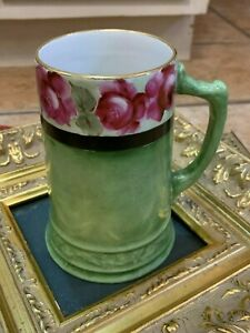 "VINTAGE HANDPAINTED POTTERY CERAMIC 8.5"" TANKARD MUG CUP PINK ROSES FLORAL GREEN"
