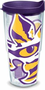 LSU-Tigers-Tumbler-Tervis-24-ounce-NCAA-Clear-w-Team-Color-Wrap-Purple-Lid
