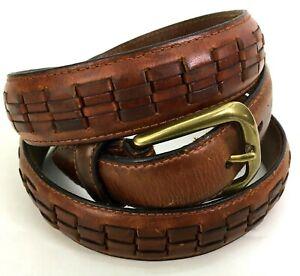 Full-Grain-Cowhide-Leather-Mens-Belt-Brown-Woven-Size-40-034-38-41-Brass-Buckle