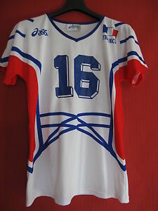 Maillot-Equipe-de-France-Volley-Ball-Femme-Asics-Porte-n-16-Vintage-XL