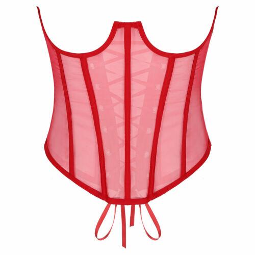 Femme Underbust Corset Transparente Sport Bustier Amincissant Cincher à lacets