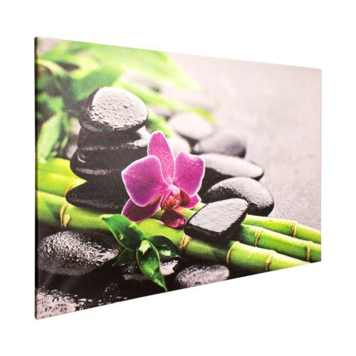 Keilrahmen Leinwand Bild Wandbild 78x118 Wellness Steine Orchidee Bambus
