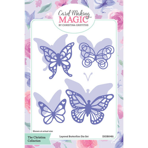 Card Making Magic Die Set Layered Butterflies Set of 9 by Christina Griffiths