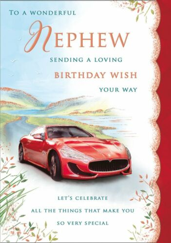 Regal Publishing Red Sports Car 10 x 7 Inches Large NEPHEW Birthday Card