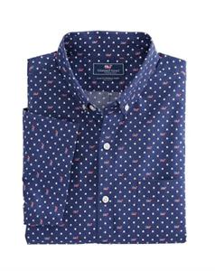 Vineyard Vines Men's Deep Cobalt Flag Whale Star S S Slim Fit Shirt XL L Medium