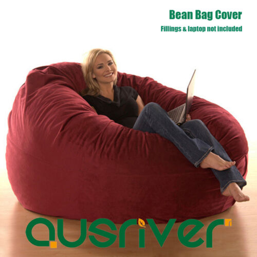 1 of 1 - Super Large Luxury Seat Feeling Bean Bag Beanbag Cover Suede Round Loveseat