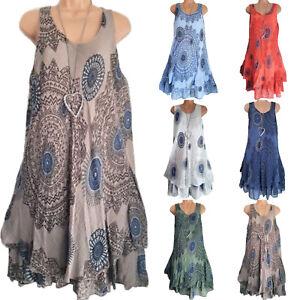 Plus-Size-Women-Boho-Sleeveless-Mini-Dress-Summer-Beach-Baggy-Tunic-Tank-Dress