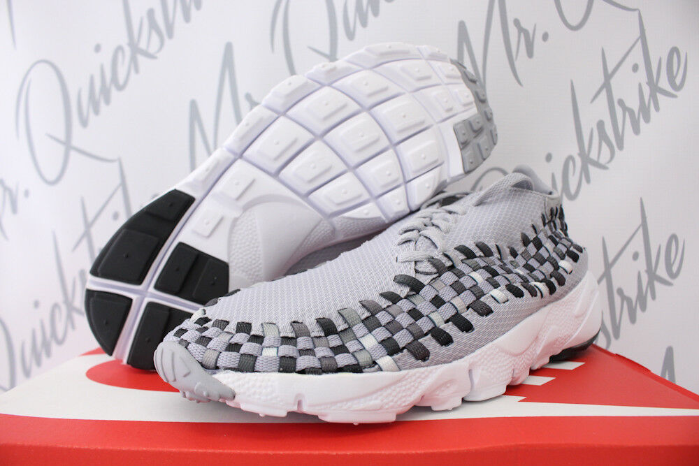 NIKE AIR FOOTSCAPE WOVEN NM SZ 11 WOLF GREY BLACK WHITE RUNNING SHOE 875797 004