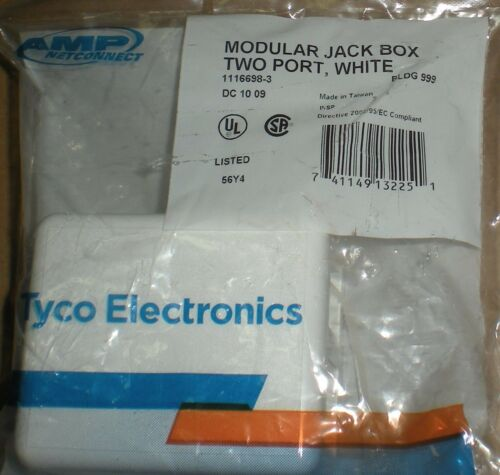AMP NETCONNECT TYCO ELECTRONICS MODULAR JACK BOX TWO PORT WHITE 741149132251 NEW
