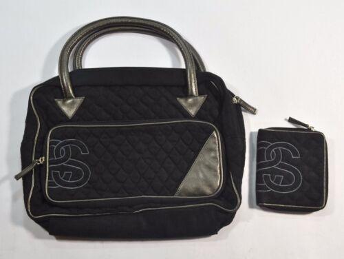 Stussy COCO Black Metallic Embroider Logo Zip Closure Handbag Purse /& Wallet