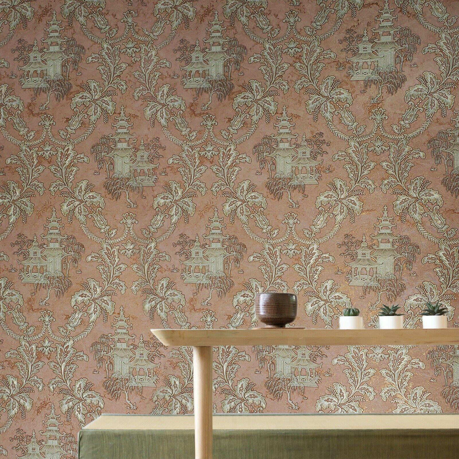 Holden Navy Melgrano Floral Wallpaper 90521 Copper Metallic