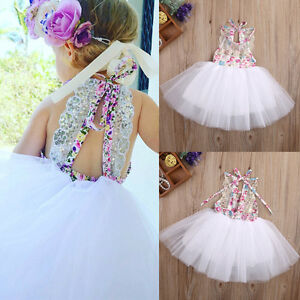 US-Baby-Kids-Girls-Party-Dresses-Tulle-Tutu-Lace-Floral-Dress-Backless-Sundress