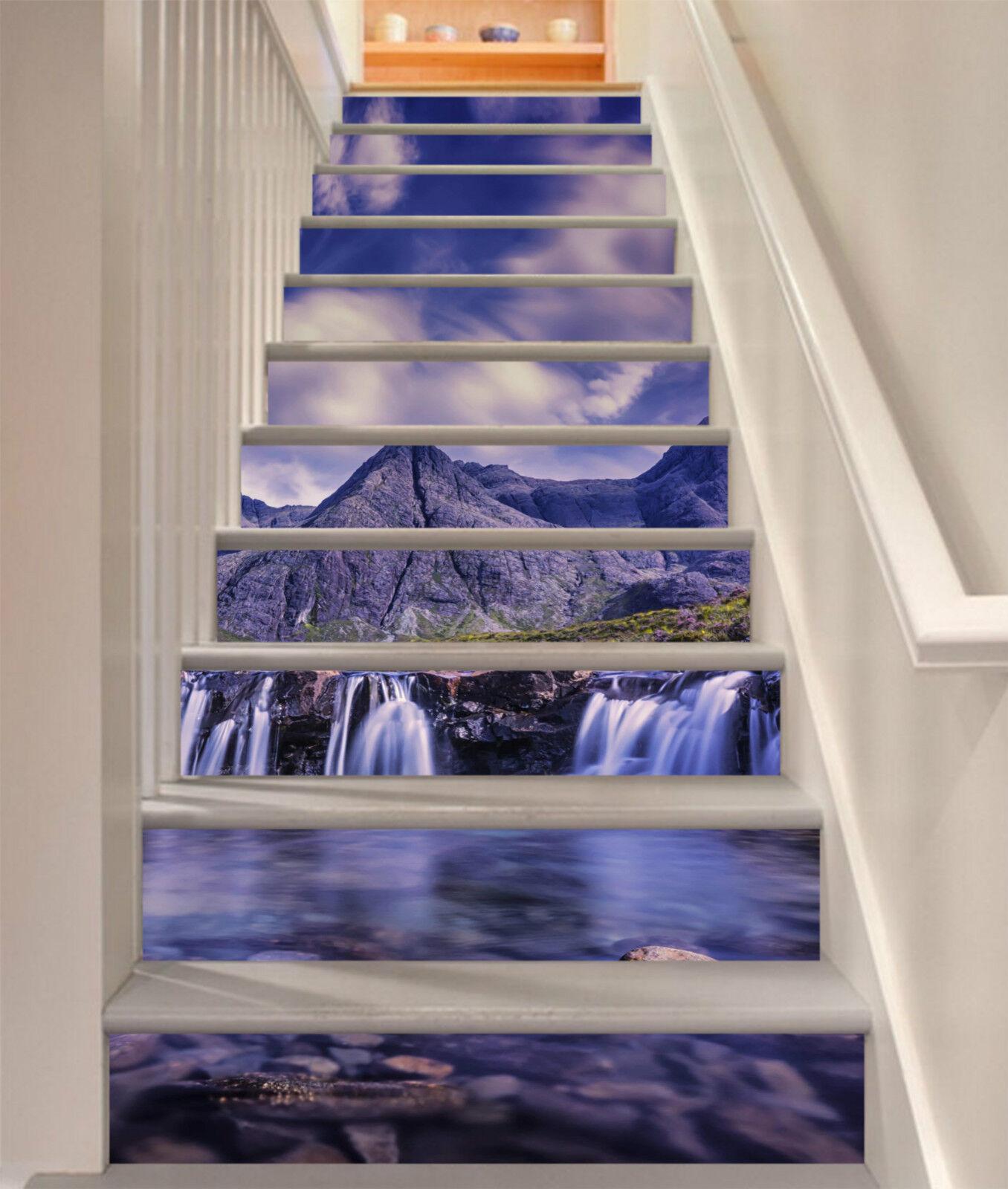 3D Berge Und Flüsse Stair Risers Dekoration Fototapete Vinyl Aufkleber Tapete DE