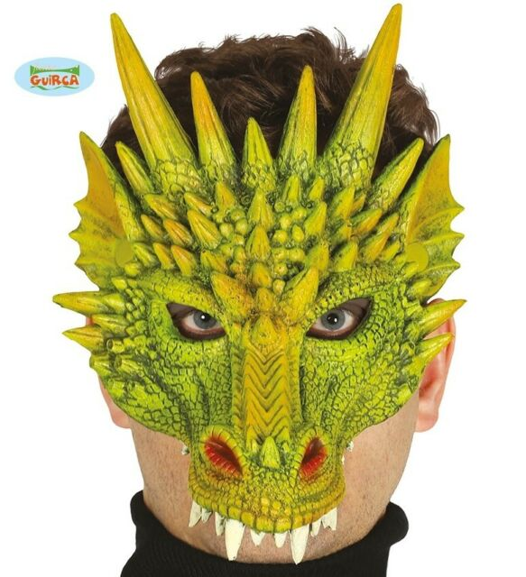 Halloween Green Goblin Sprite Orc Larp Half Face Foam Mask Sorcerer Fancy Dress