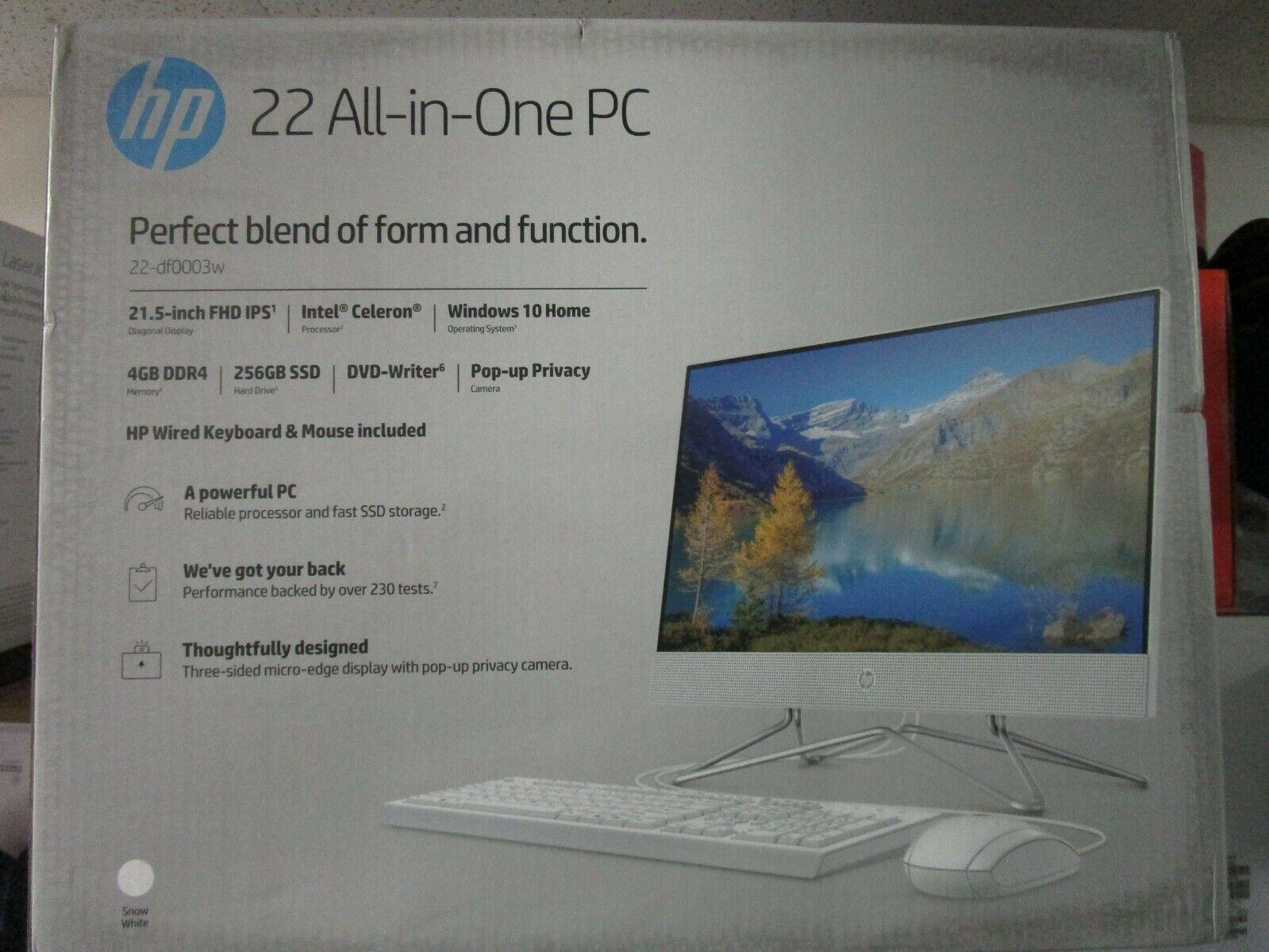 HP 22-DF 21.5-Inch Full HD WLED Intel Celeron G5900T 4GB 256GB SSD Win 10 All-in-One PC