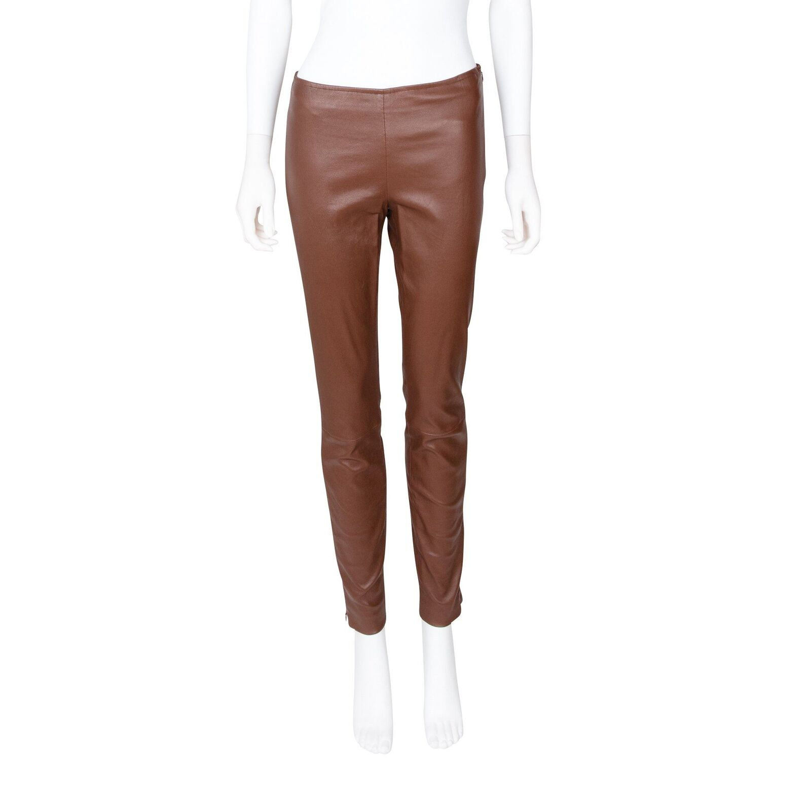 The Row Brown Leather Leggings - Size 4