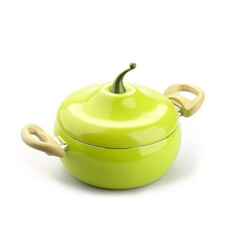Ollas y sartenes con formas de vegetales con material de cerámica antiadherente