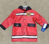 Wippette Boys Jr Firefighter Fireman Raincoat Jacket ( Red) Hooded Coat