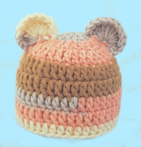 Hand crocheted Grueso Sombrero De Oso De Peluche Orejas De Rayas Foto Accesorios De Punto Lana Merino