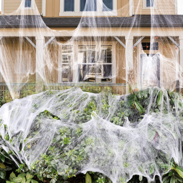 Halloween decorations Halloween spider web 100g luminous suitable for Halloween indoor and outdoor decoration can cover 300 square feet simulation spider