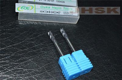 HRC45° (φ4×10×50×4F) Carbide End Mill Bits Milling Cutter 4-Flutes (2pcs)