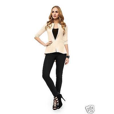 Elegant Jacket  3/4 Sleeve Hook Clasp Asymmetric Blazer Cardigan Coat FA417