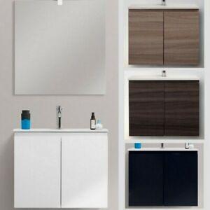 Dettagli su Mobile bagno arredo 60 ultraslim sospeso moderno lavabo  ceramica mdf 4 colori 65