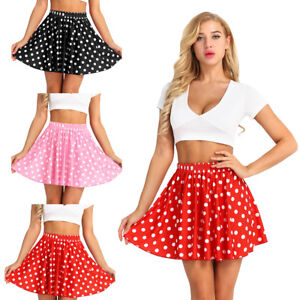 928ebe069877 Fashion Women's Flared Summer Polka Dot Pleated Swing Shorts Mini ...