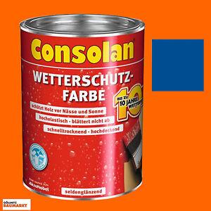 consolan wetterschutzfarbe holzschutzfarbe schutzfarbe deckfarbe blau 750 ml neu ebay. Black Bedroom Furniture Sets. Home Design Ideas